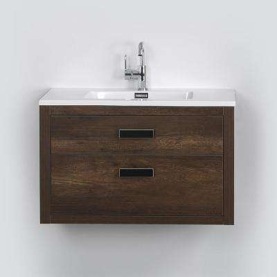 31.5 in. W x 19.3 in. H Bath Vanity in Brown with Resin Vanity Top in White with White Basin
