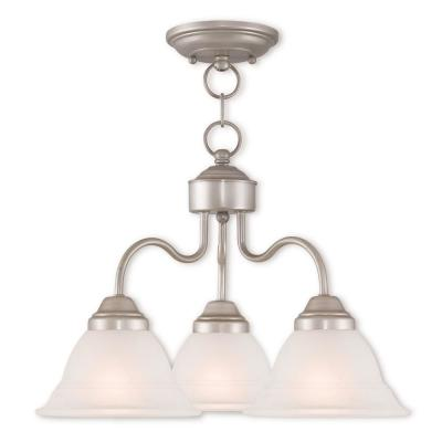 Wynnewood 3-Light Hand Applied Brushed Silver Convertible Chandelier with Hand Applied Gray Marble Glass Shade