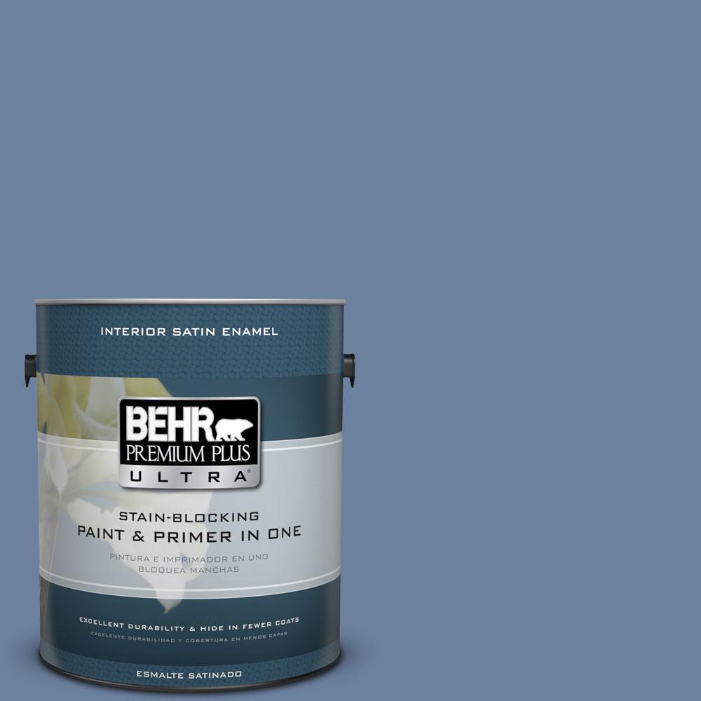 BEHR Premium Plus Ultra 1-gal. #S530-5 Brisk Blue Satin Enamel Interior Paint