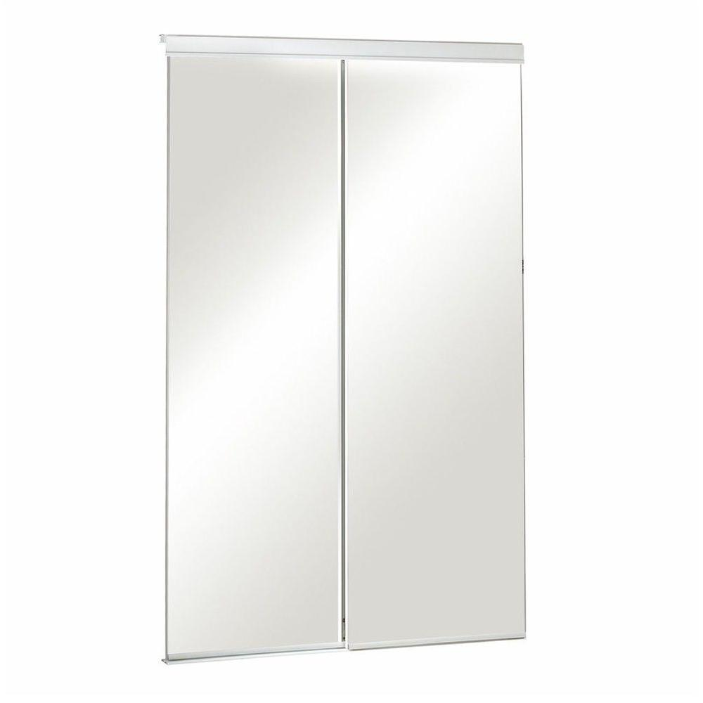 Pinecroft 60 in. x 80 in. Mirror Bevelled White Frame Aluminum Sliding Door
