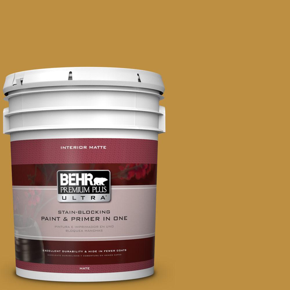 BEHR Premium Plus Ultra 5 gal. #340D-6 Fervent Brass Flat/Matte Interior Paint