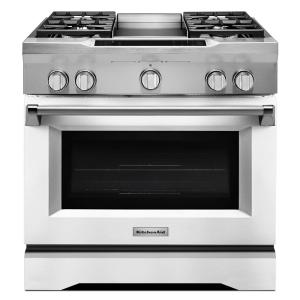 KitchenAid 36 In. 5.1 Cu. Ft. Dual Fuel Range With Convection Oven In  Imperial White KDRS463VMW   The Home Depot