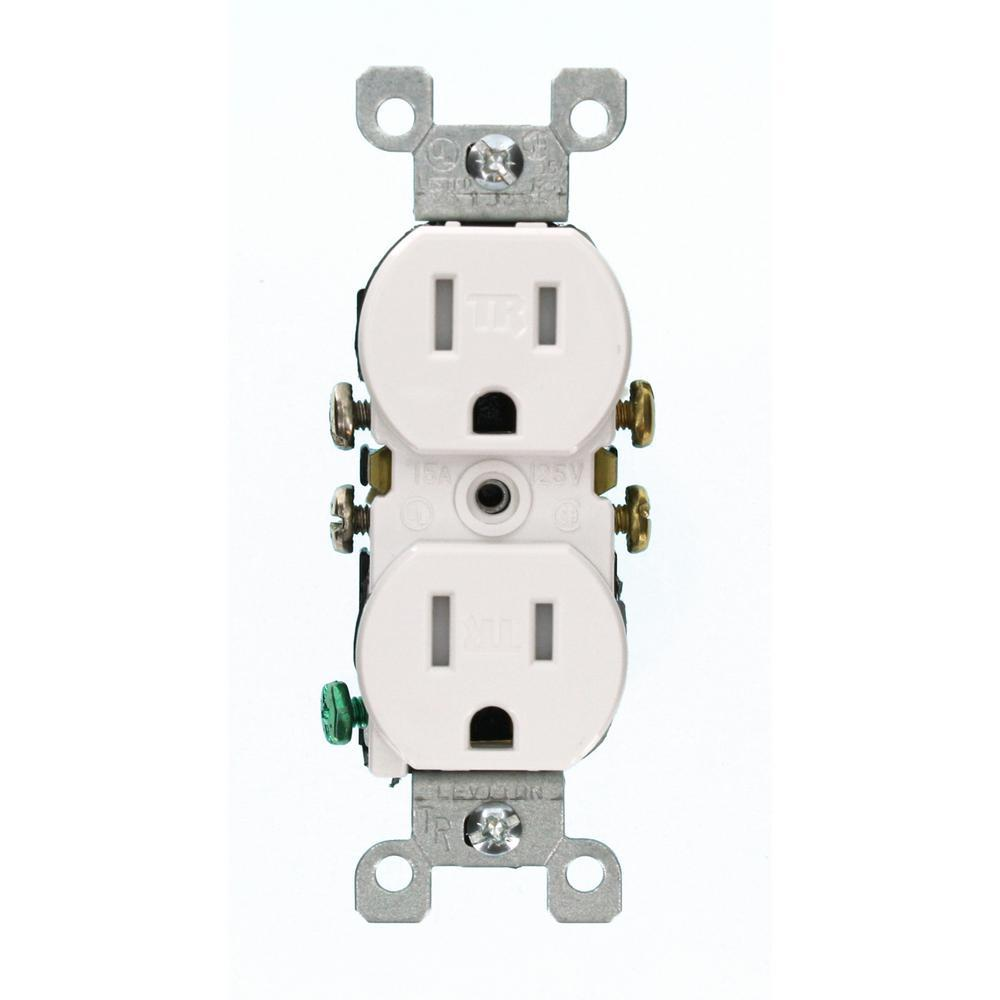Leviton 15 Amp Tamper Resistant Duplex Outlet White T5320 W The