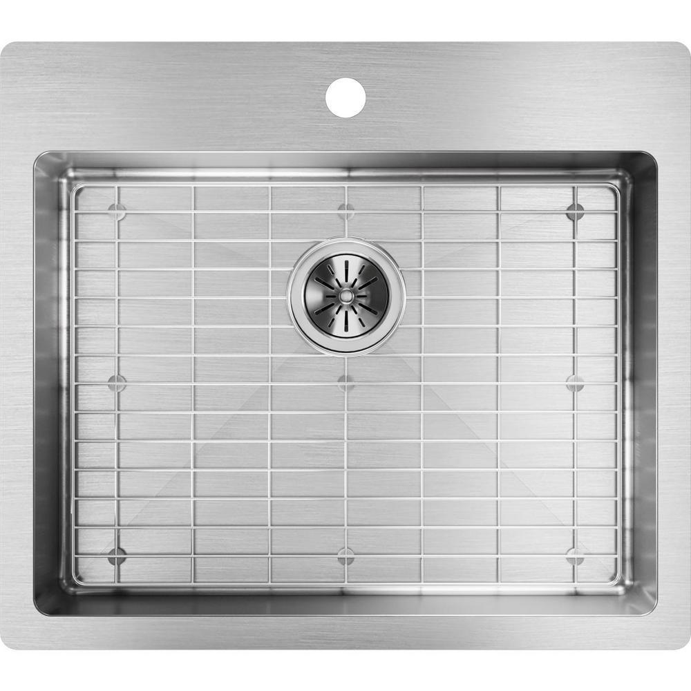 Crosstown Drop-In/Undermount Stainless Steel 25 in. 1-Hole Single Bowl ADA Compliant Kitchen Sink Kit