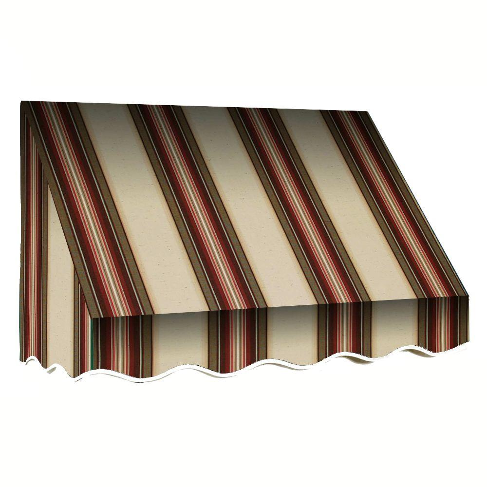 AWNTECH 5 ft. San Francisco Window/Entry Awning (56 in. H x 48 in. D) in Brown/White Stripe