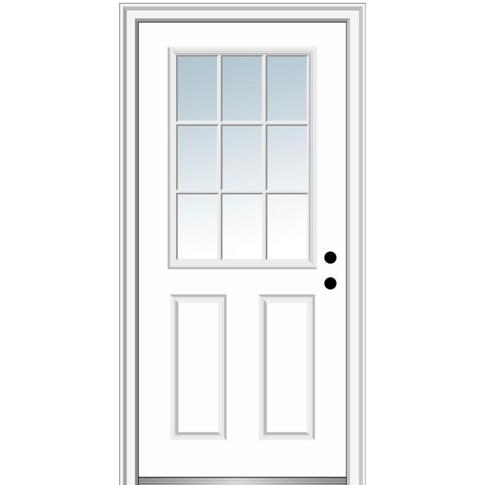 30 in. x 80 in. Left-Hand Inswing 9-Lite Clear Classic External Grilles Primed Fiberglass Smooth Prehung Front Door