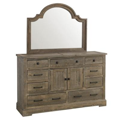 Meadow 9-Drawer Weathered Gray Dresser with Mirror