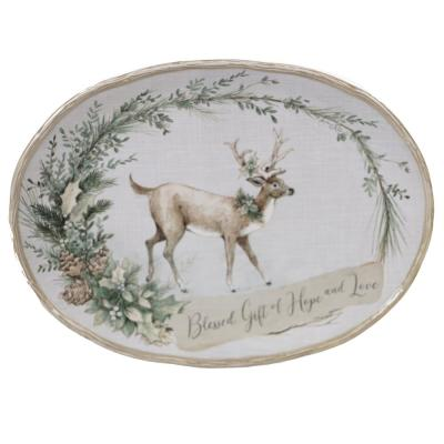 Holly and Ivy Multi-Colored 16 in. Earthenware Oval Platter