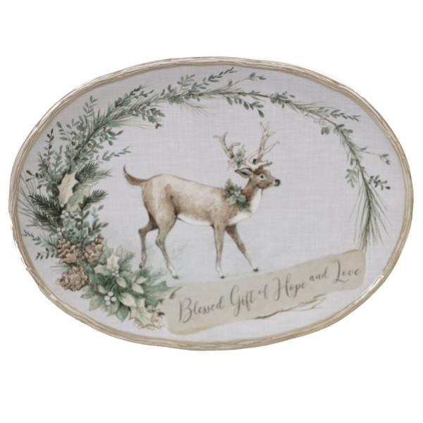 Certified International Holly and Ivy Multi-Colored 16 in. Earthenware Oval