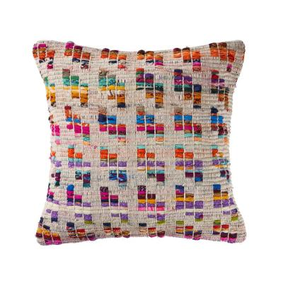 20 in. x 20 in. Multi-Color Eclectic Chindi Standard Throw Pillow