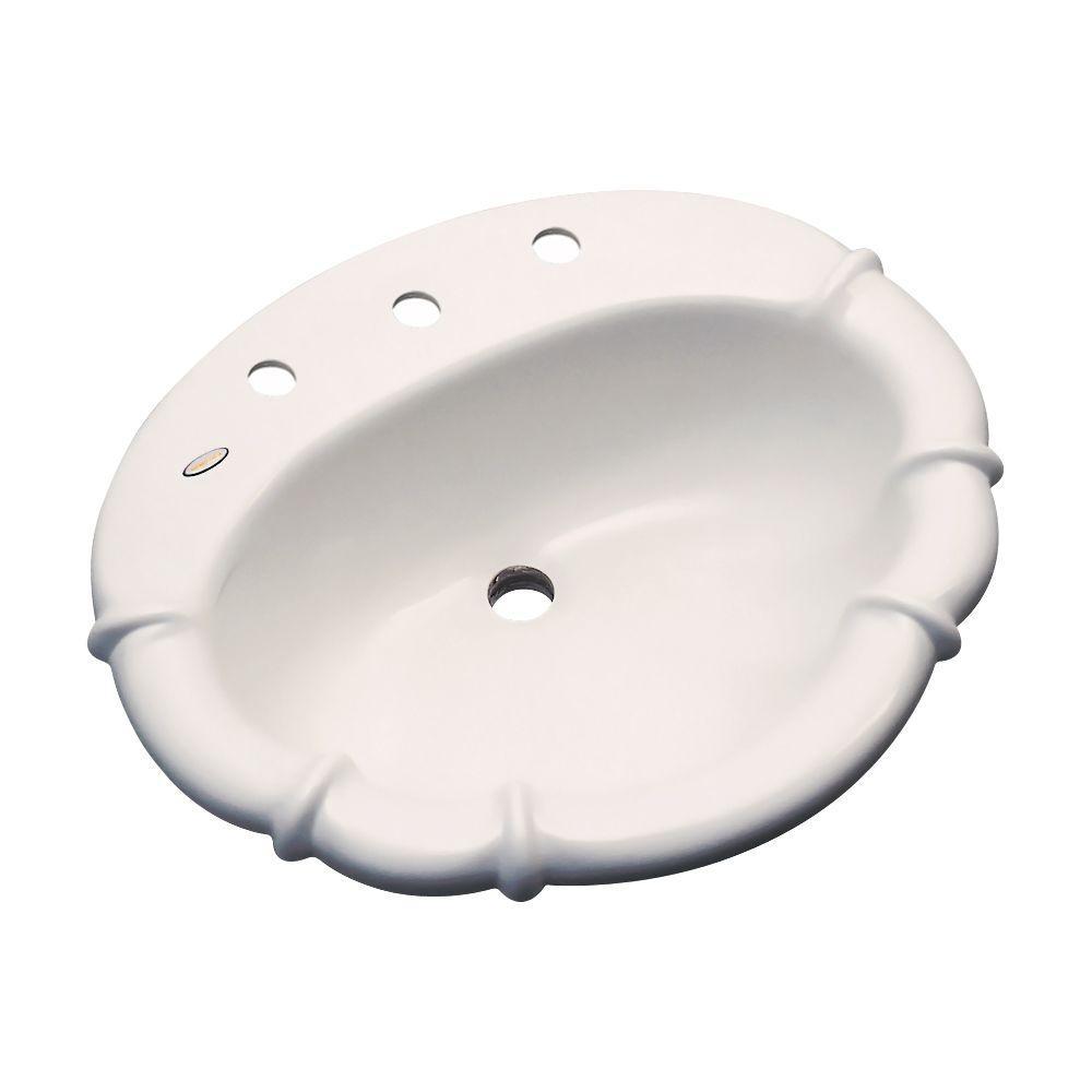 Thermocast Magnolia Drop-In Bathroom Sink in Bone