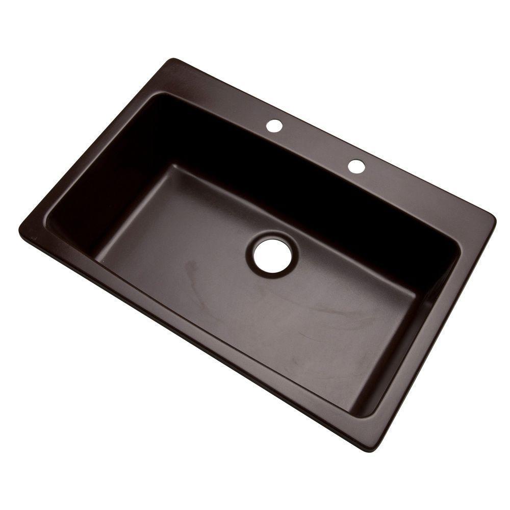 Rockland Dual Mount Composite Granite 33 in. 2-Hole Single Bowl Kitchen Sink in Espresso