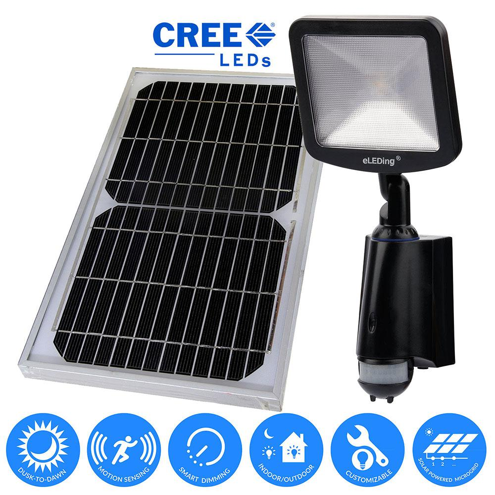 eleding 180 solar powered cree led outdoor indoor smart security
