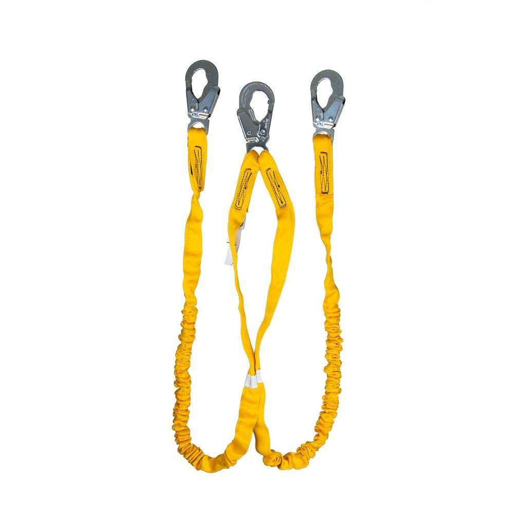 Guardian Fall Protection 6 ft. Double Leg Internal Shock Lanyard with Snap Hook The Guardian Fall Protection Internal Shock Lanyard is comprised of heavy duty outer polyester webbing, with a polyester core specifically designed to reduce the impact forces resulting from a fall. Because the shock absorption is built directly into the lanyard there is no need for an external shock absorber, making the Internal Shock Lanyard a particularly lightweight option. This lanyard does not stretch, except if exposed to high levels of force, and is available in single and double leg models, and with a variety of connector component options.