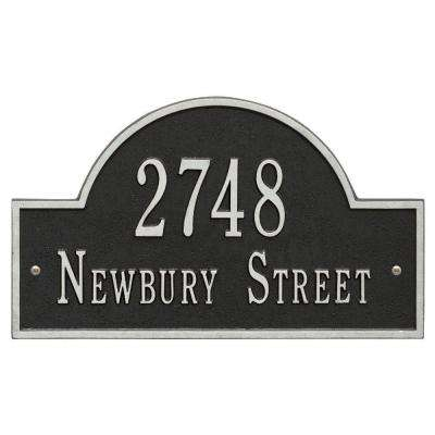 Arch Marker Standard Black/Silver Wall 2-Line Address Plaque