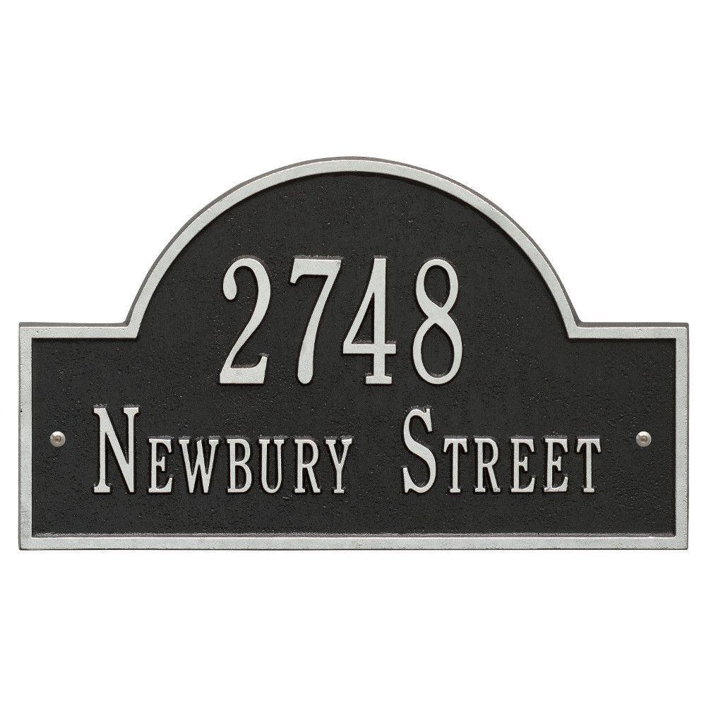 Arch Marker Standard Black/Silver Wall 2-Line Address Plaque