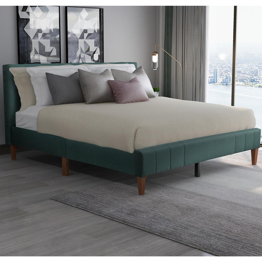King Green Tufted Upholstered Platform Bed