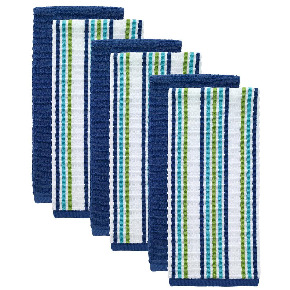 T-Fal Cool/Blue Solid and Stripe Cotton Waffle Terry Kitchen Dish Towel (Set of 6)