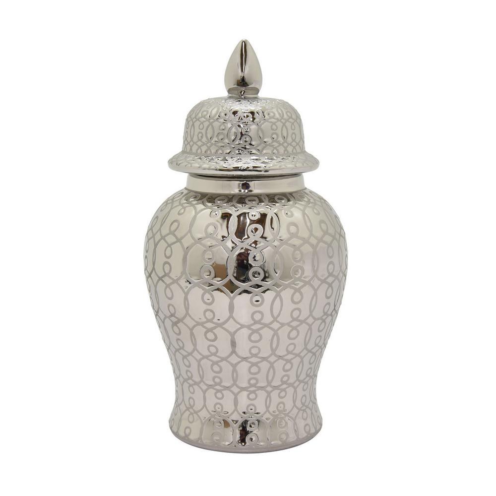 19 in. Silver Ceramic Temple Jar