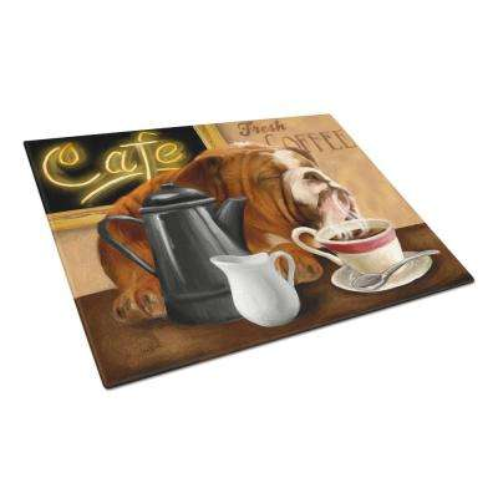 English Bulldog Morning Coffee Tempered Glass Large Cutting Board