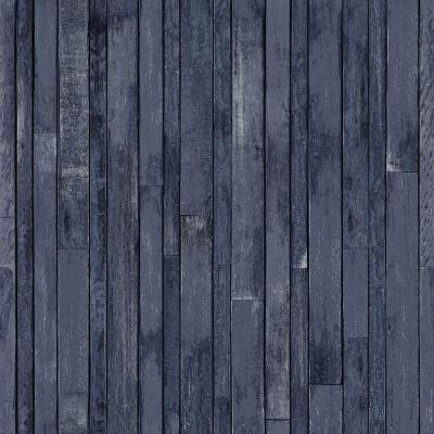 Azelma Navy Wood Paper Strippable Wallpaper (Covers 56.4 sq. ft.)