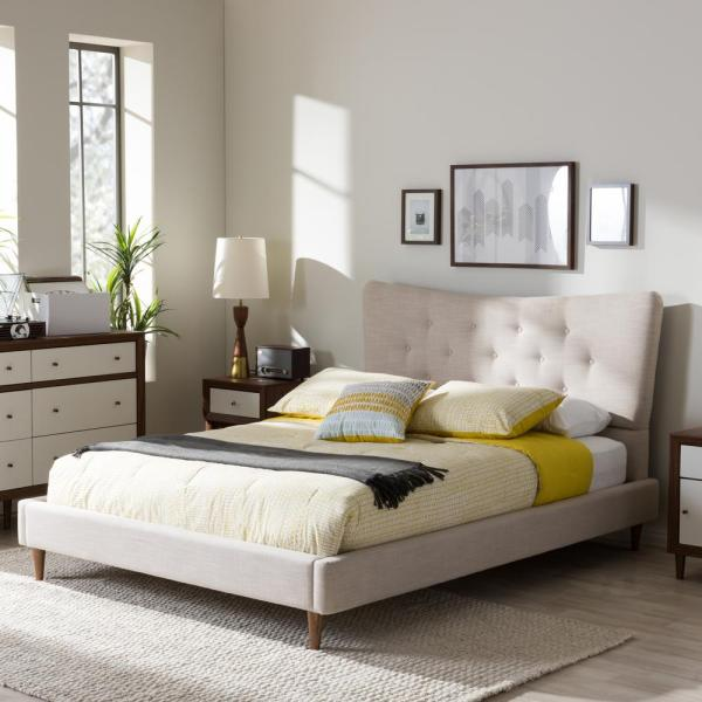 Hannah Beige Queen Upholstered Bed