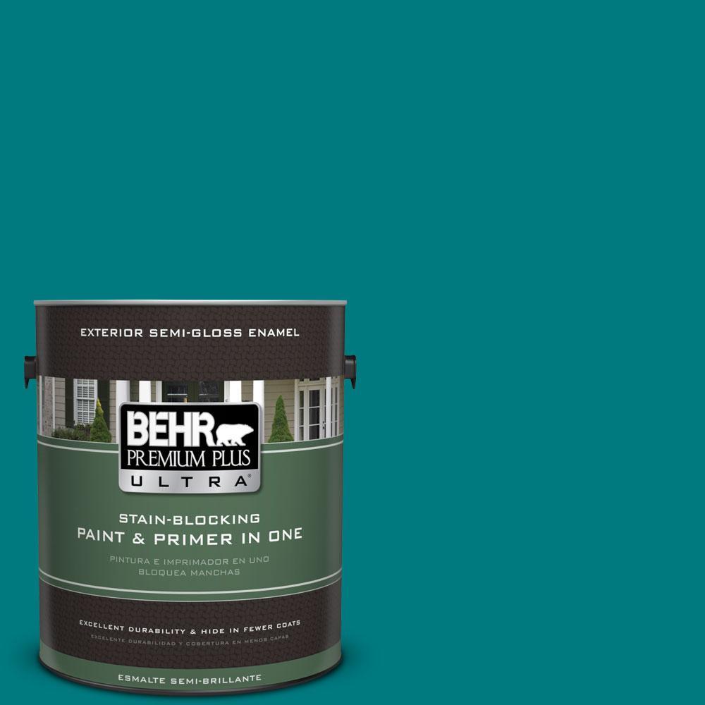 BEHR Premium Plus Ultra 1-gal. #S-G-500 Tropical Waters Semi-Gloss Enamel Exterior Paint
