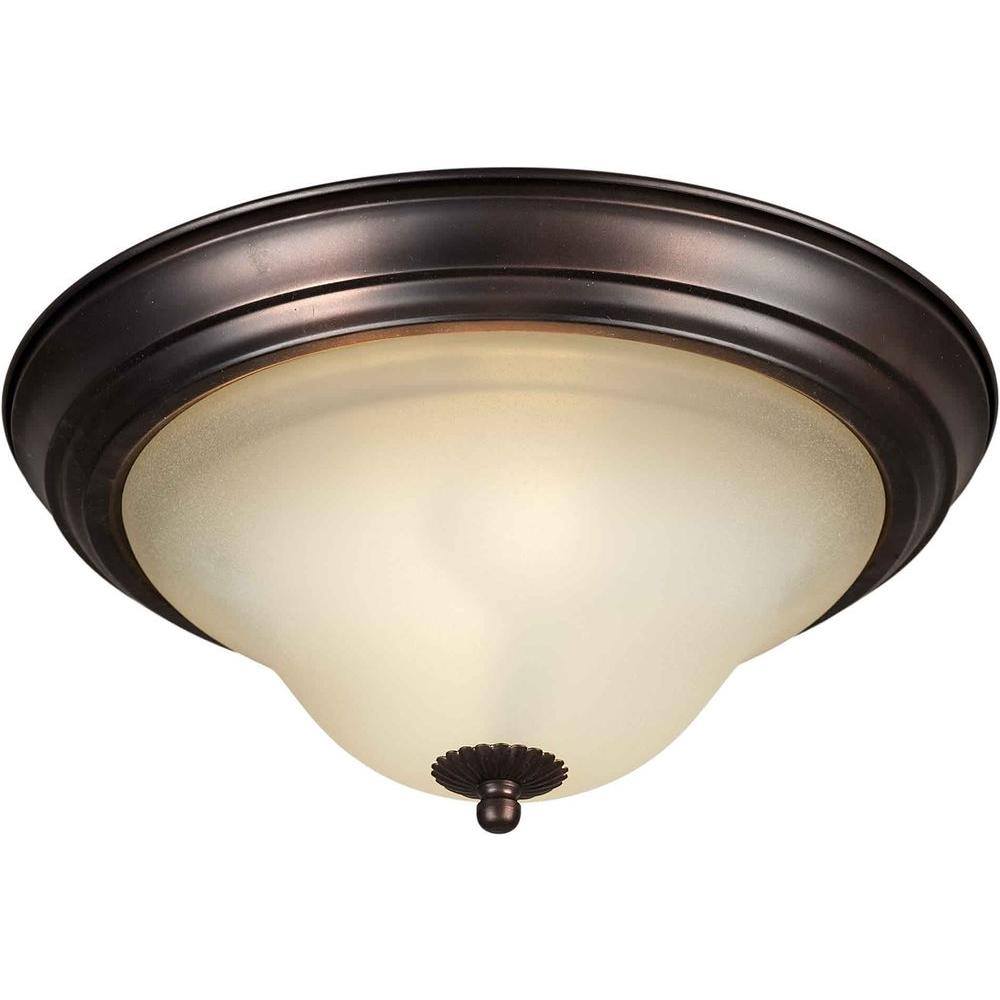 Talista 1-Light Antique Bronze Flushmount with Shaded Umber Glass