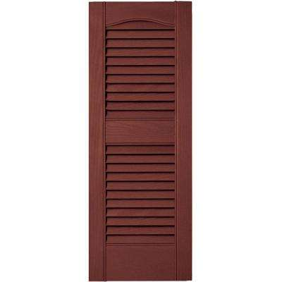 12 in. x 31 in. Louvered Vinyl Exterior Shutters Pair #027 Burgundy Red