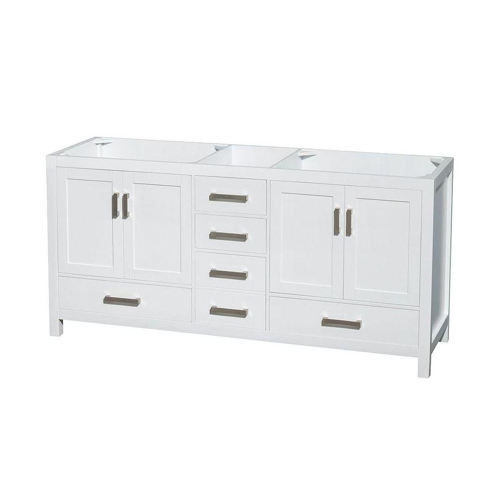 Wyndham Collection Sheffield 72 In. Double Vanity Cabinet In  White WCS141472DWHCXSXXMXX   The Home Depot