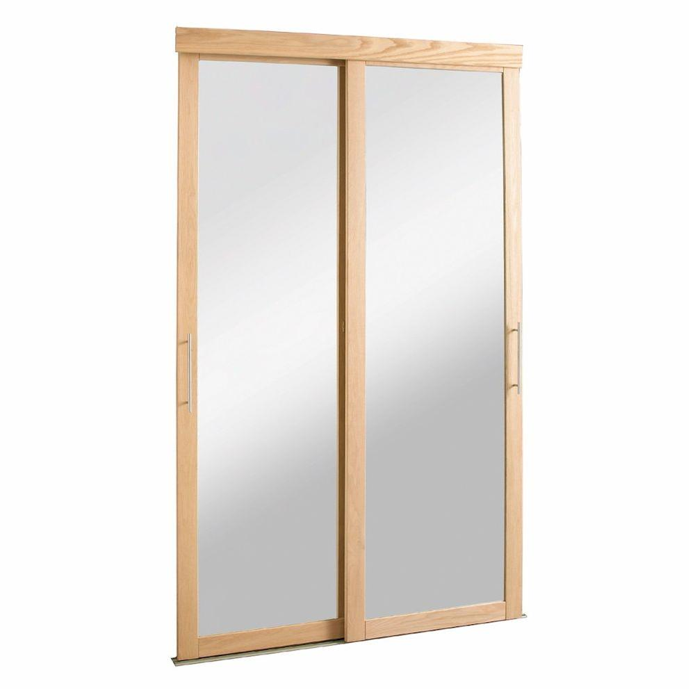 Pinecroft 60 in. x 80 in. Mirror Zen Oak Frame for Sliding Door