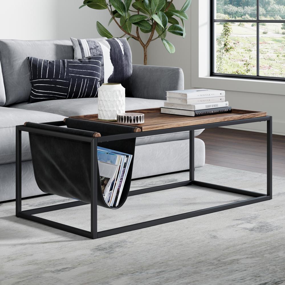 Felix 45 in. Nutmeg/Black Large Rectangle Wood Coffee Table with Magazine Holder