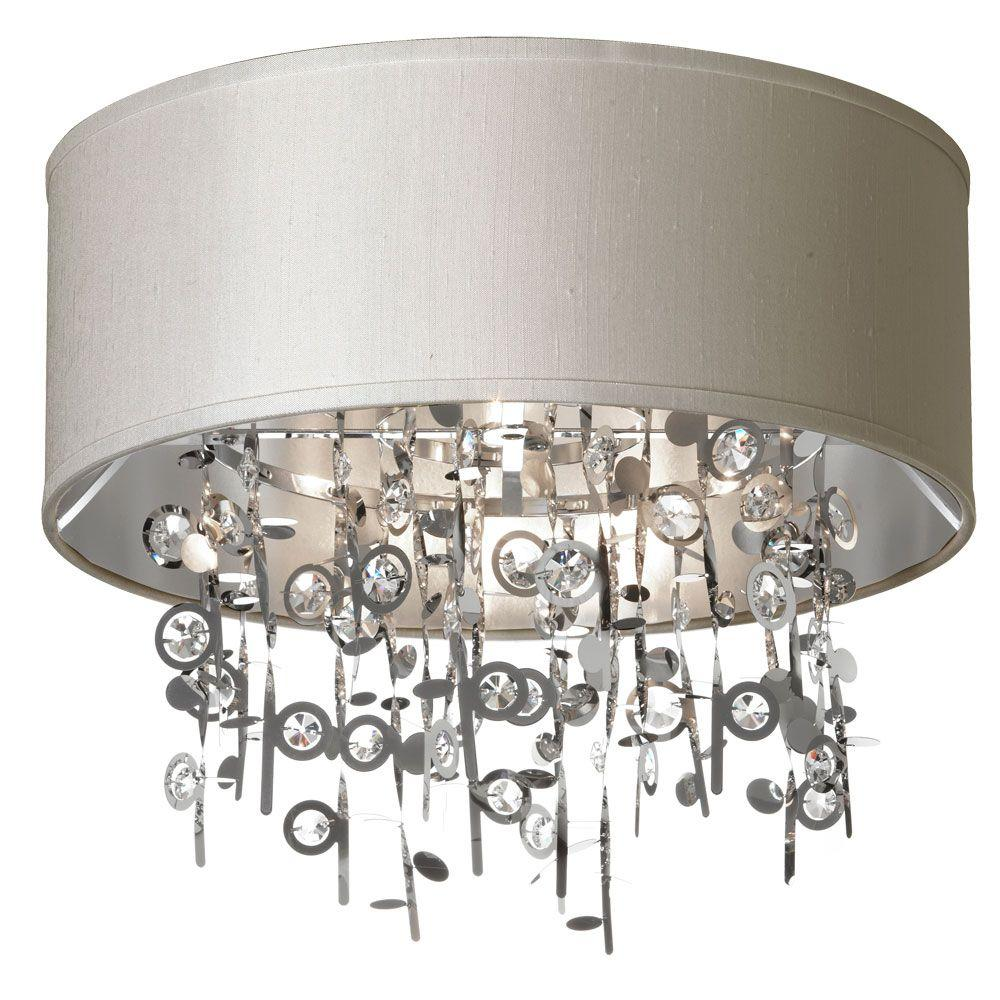 Dainolite Picabo 4 Light Polished Chrome Crystal Semi Flush Mount With Pebble Shade
