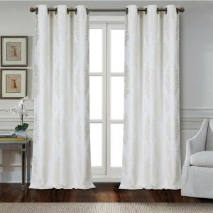 Marquise 84 inch Ivory Polyester Textured Applique Grommet Window Curtain Panel (2-Pack) by