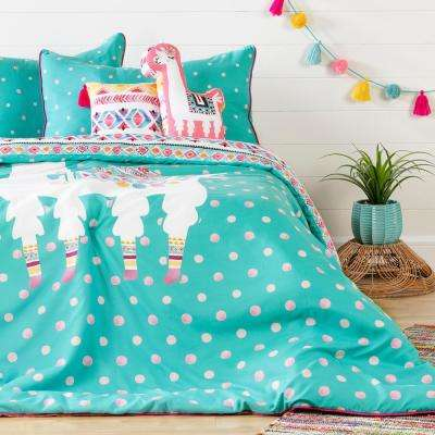 DreamIt 6-Piece Festive Llama Turquoise and Pink Full Bedding Set
