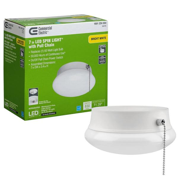 Commercial Electric Spin Light 7 In Led Flush Mount Ceiling Light With Pull Chain 830 Lumens 11 5 Watts 4000k Bright White No Bulbs 54484145 The Home Depot