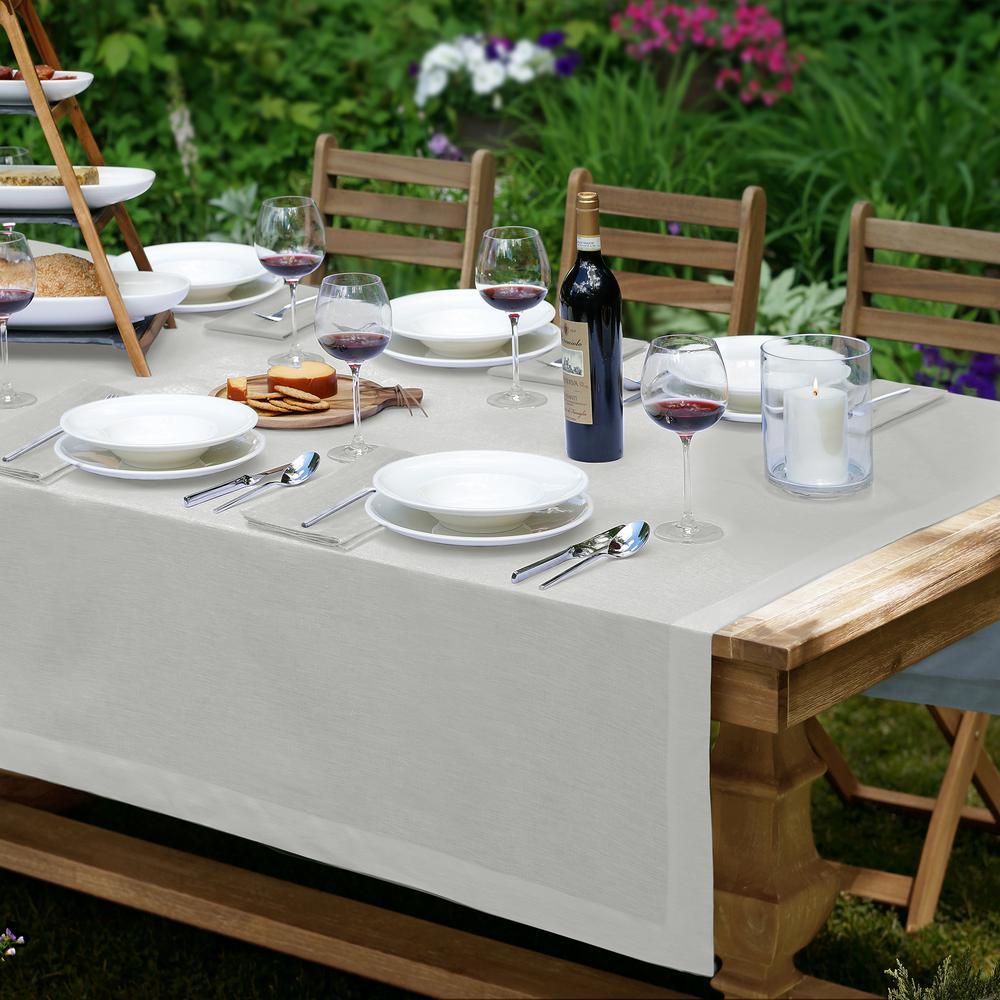 La Classica 70 in. W x 126 in. L Fabric Tablecloth in Dove Gray