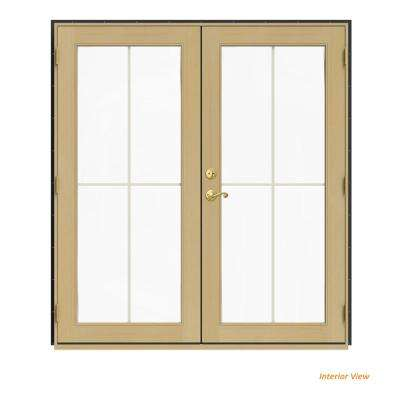 72 in. x 80 in. W-2500 Bronze Clad Wood Left-Hand 4 Lite French Patio Door w/Unfinished Interior