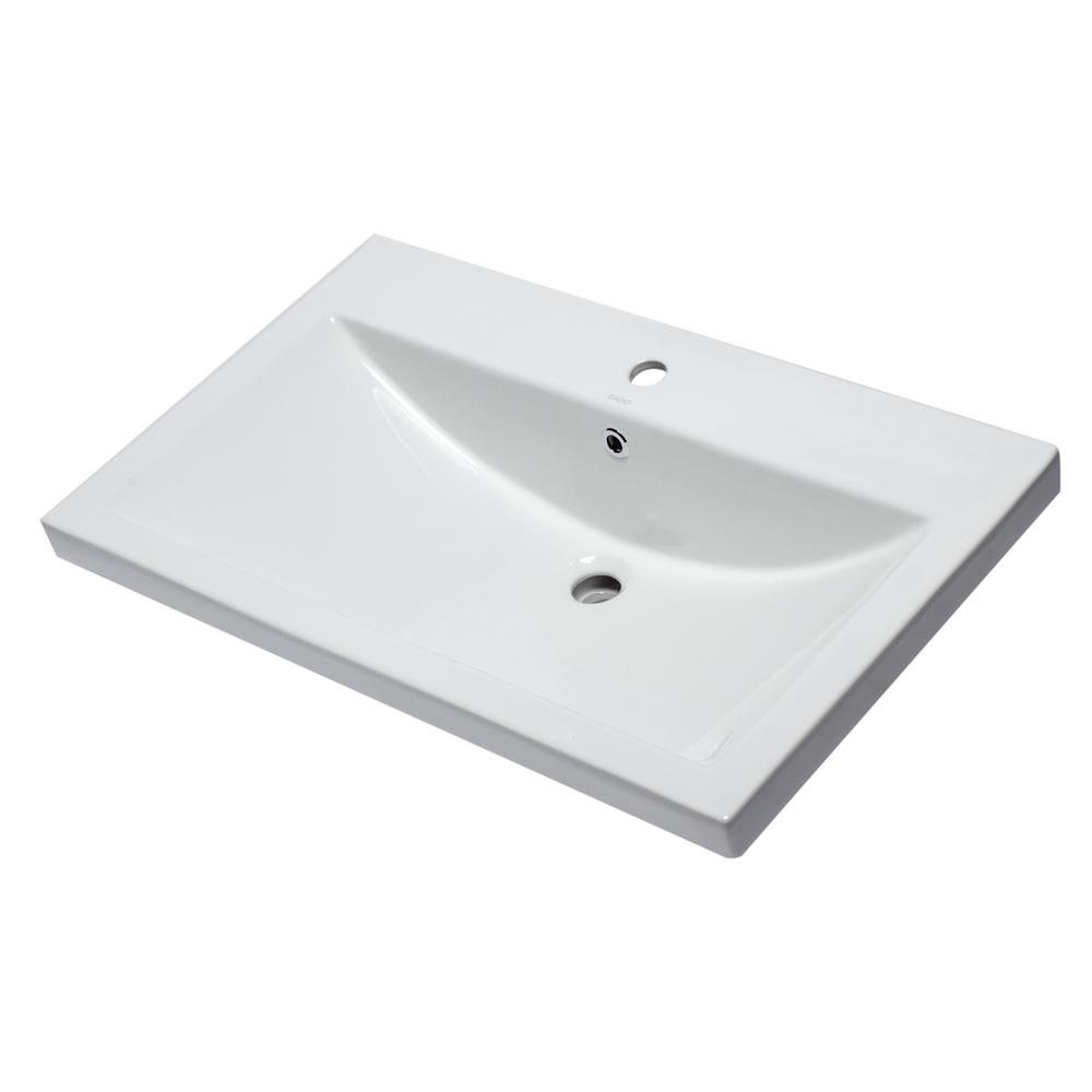 BH001 7.9 in. Drop in Sink Basin in White