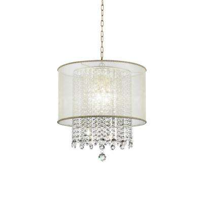 Bhavya 3-Light Gold Crystal Chandelier