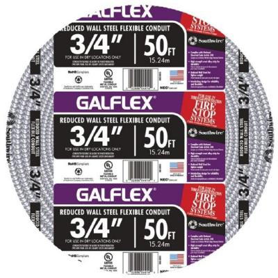 3/4 in. x 50 ft. Galflex RWS Metallic Armored Steel Flexible Conduit