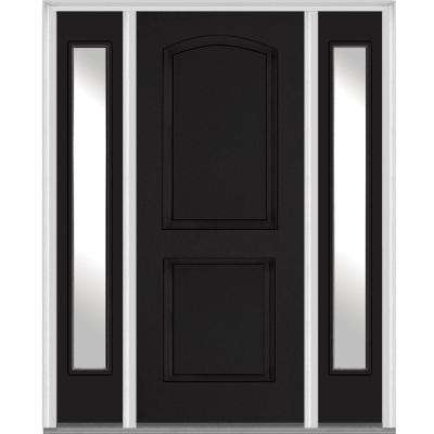 2 panel archtop painted fiberglass smooth exterior door with