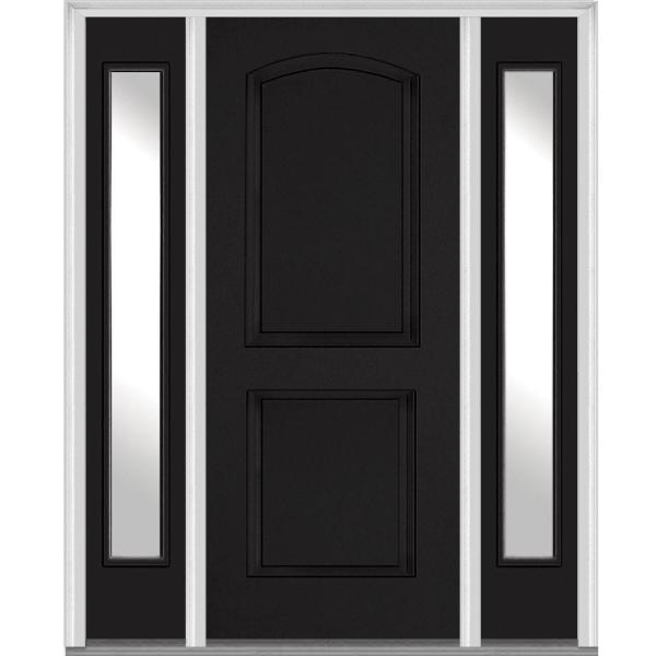 68.5 in. x 81.75 in. Right Hand Inswing 2-Panel Arch Painted Fiberglass Smooth Prehung Front Door with Sidelites