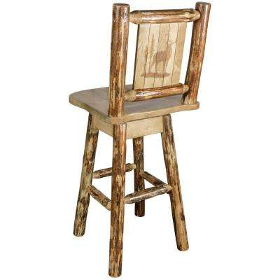 Glacier 30 in. Laser Engraved Elk Motif Swivel Bar Stool