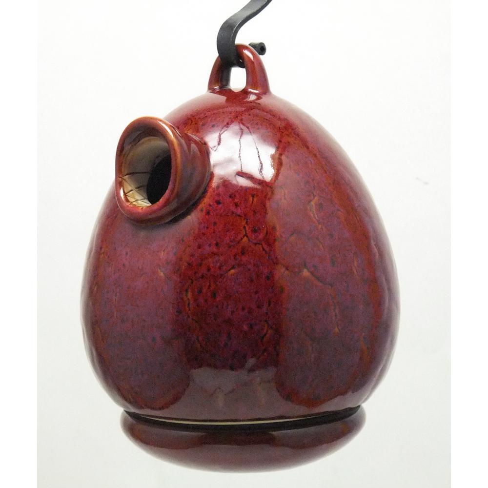 9 in. Red Ceramic Egg Shape Bird House
