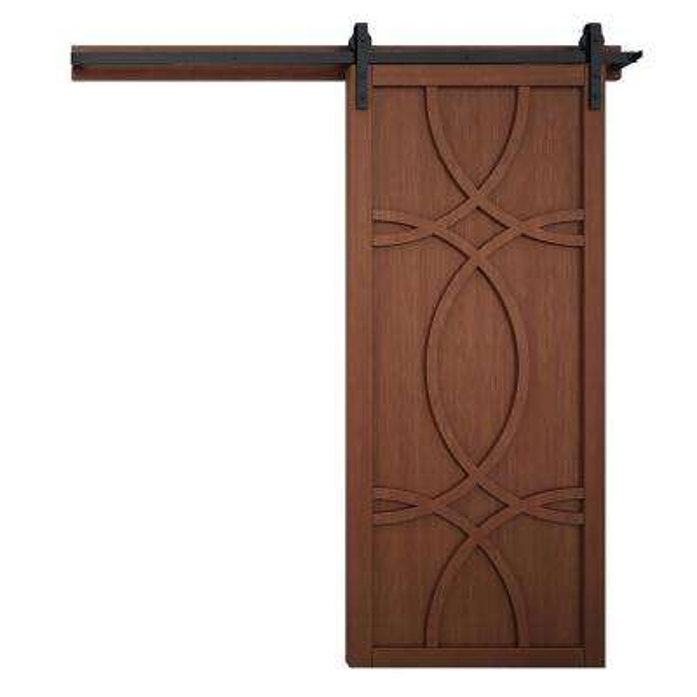 42 in. x 84 in. Hollywood Coffee Wood Barn Door with Sliding Door Hardware Kit