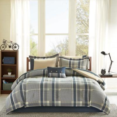Roger 7-Piece Navy/Tan Twin XL Bed in a Bag Set