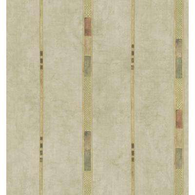 Kitchen and Bath Resource II Neutral Whimsey Geometric Stripe Wallpaper Sample
