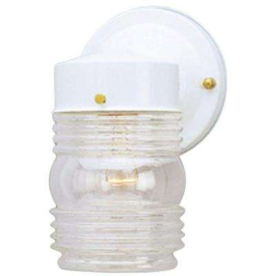 1-Light White Steel Exterior Jelly Jar Wall Lantern with Clear Glass
