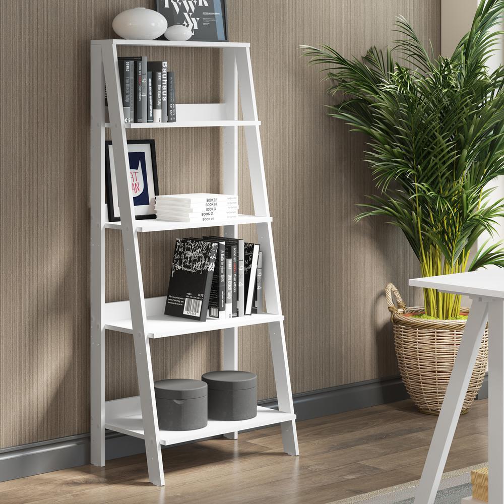 55 in. Wood Ladder Bookshelf - White